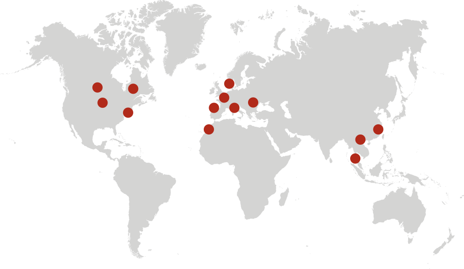 World map with dots showing member states of NAFO