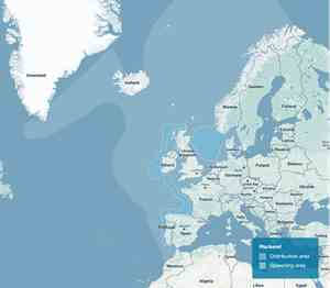 Map showing distribution and spawning areas for Norwegian mackerel